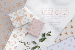 Print on Demand: Rose Gold Snowflakes and Stars Patterns Gráfico Moldes Por Busy May Studio