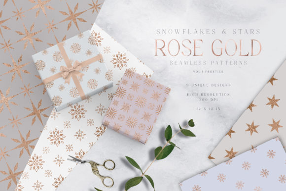 Rose Gold Snowflakes and Stars Patterns Graphic Patterns By Busy May Studio