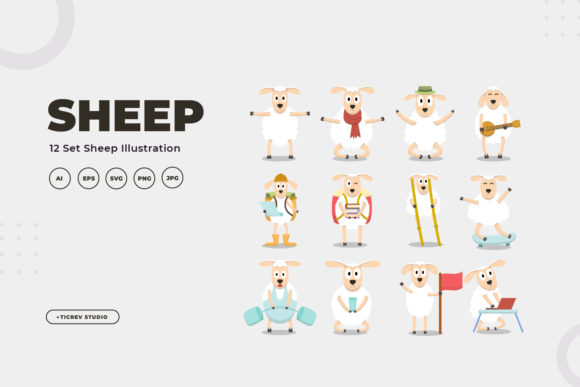 Sheep Illustration Collection Graphic Illustrations By OKEVECTOR