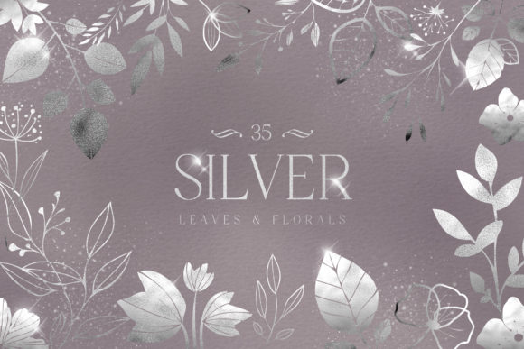 Print on Demand: Silver Foil Leaves Flowers Florals PNG Graphic Illustrations By Busy May Studio
