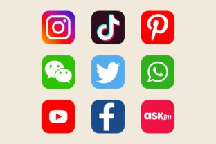 Social Media Icons in Flat Squares - 1