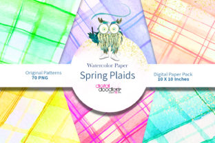 Print on Demand: Spring Watercolor Plaid Graphic Patterns By Digital Doodlers