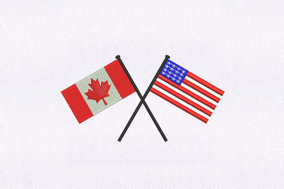USA and Canada Flags Independence Day Embroidery Design By DigitEMB