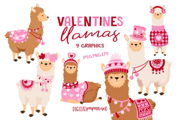 Print on Demand: Valentines Day Llamas Gráfico Ilustraciones Por DigitalPapers