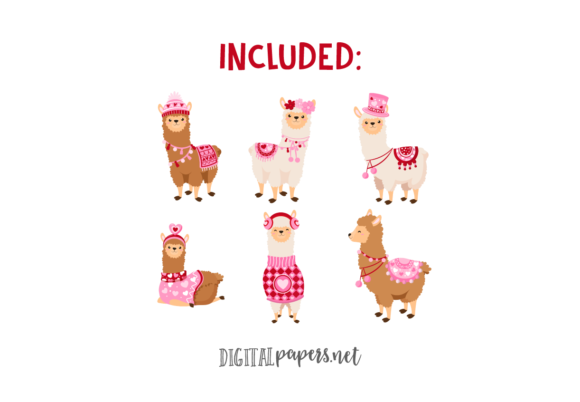 Valentines Day Llamas Graphic Download