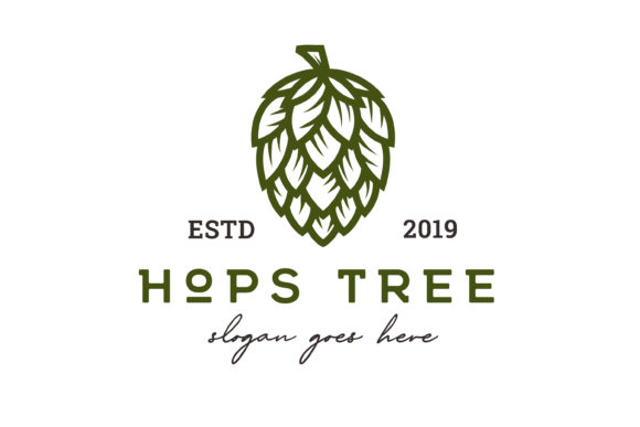 Vintage Hops Flower for Beer Logo Graphic Logos By Weasley99
