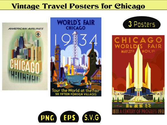 Print on Demand: Vintage Posters Usa Chicago Graphic Graphic Templates By kdp Edition