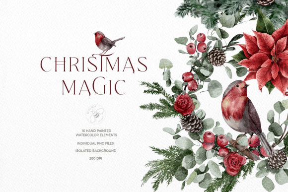 Watercolor Christmas Magic Classic Graphic Illustrations By Busy May Studio