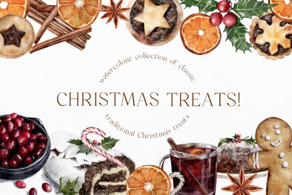 Watercolor Christmas Treats Festive Food Graphic Illustrations By Busy May Studio
