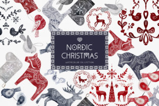 Print on Demand: Watercolor Nordic Christmas Swedish Art Graphic Illustrations By Busy May Studio