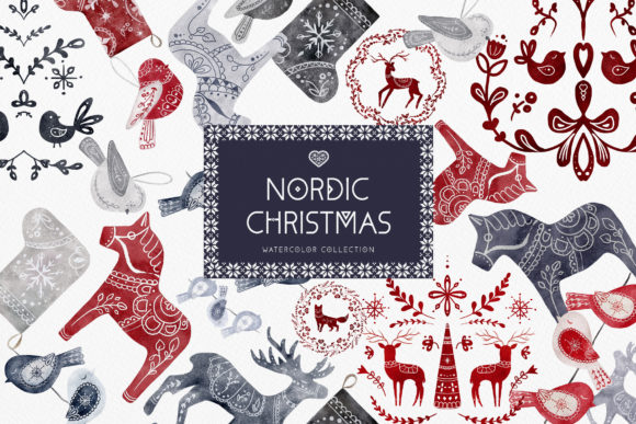 Watercolor Nordic Christmas Swedish Art Graphic Illustrations By Busy May Studio