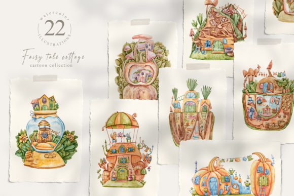 Print on Demand: Watercolor Fairy Houses Clipart BUNDLE Graphic Illustrations By Tiana Geo
