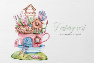 Print on Demand: Watercolor Fairy Nest House Clipart. Graphic Illustrations By Tiana Geo