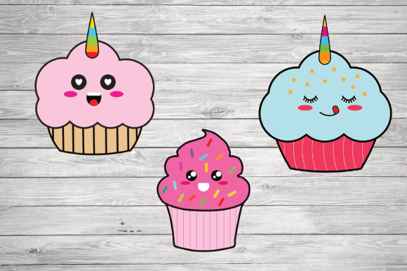 Print on Demand: Cupcake Clipart, Kawaii Cupcake, Svg Graphic Illustrations By rayan