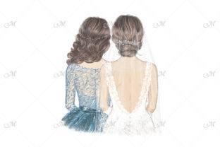 Bride in Veil and Maid of Honour Graphic Illustrations By MaddyZ