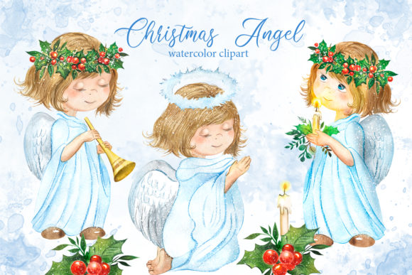 Christmas Girl Angel Watercolor Clipart Graphic Illustrations By EvArtPrint