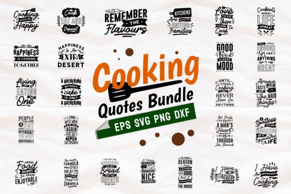 Print on Demand: Cooking Quotes SVG Bundle Lettering Gráfico Plantillas para Impresión Por Universtock
