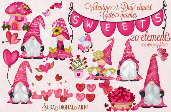 Cute Gnomes Valentine's Day Clipart Graphic