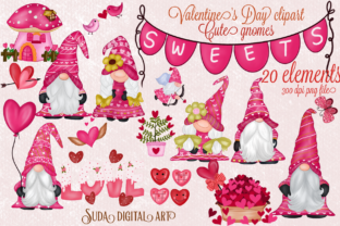 Print on Demand: Cute Gnomes Valentine's Day Clipart Grafik Illustrationen von Suda Digital Art
