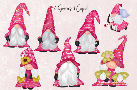 Cute Gnomes Valentine's Day Clipart Graphic Download
