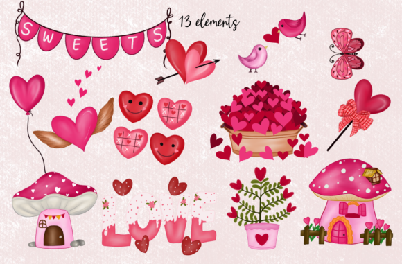 Cute Gnomes Valentine's Day Clipart Graphic Item