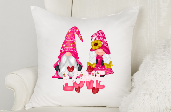 Cute Gnomes Valentine's Day Clipart Graphic Image