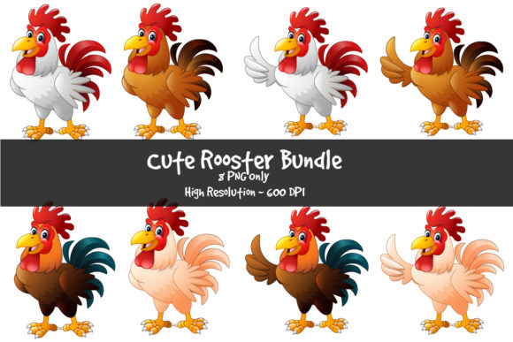 Cute Rooster Cartoon Bundle Graphic Illustrations By zhyecarther