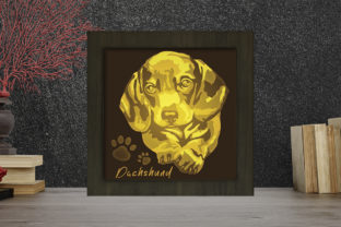 Print on Demand: Dachshund Light Box Shadow Box Graphic 3D Shadow Box By LightBoxGoodMan