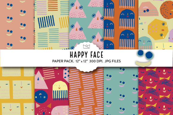 Faces Digital Paper, Happy Faces Graphic Patterns By Nina Prints