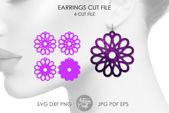 Print on Demand: Floral Earrings SVG, Laser Cutting Files Graphic 3D Flowers By Artisan Craft SVG