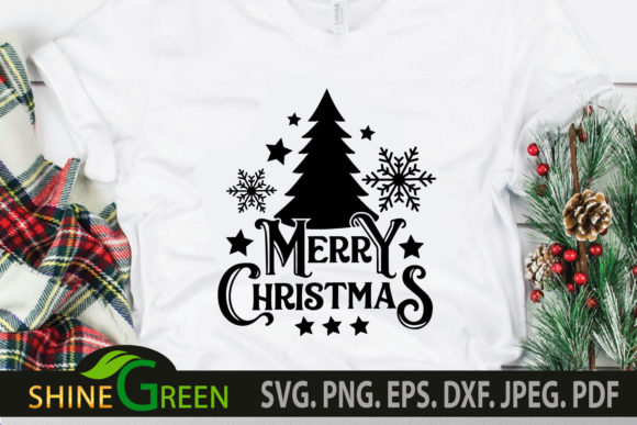 Print on Demand: Merry Christmas SVG with Tree Snowflakes Graphic Crafts By ShineGreenArt