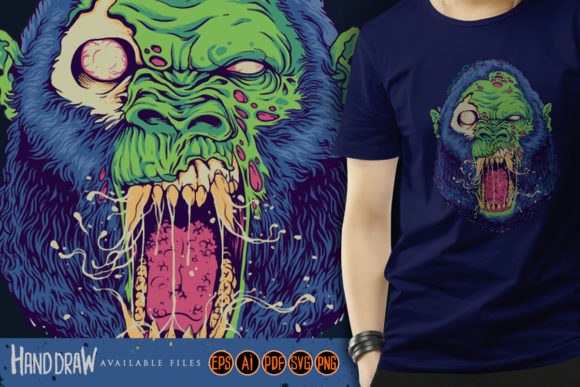 Print on Demand: Monster Angry Gorilla Head Graphic Graphic Illustrations By artgrarisstudio