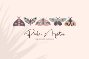 Print on Demand: Pale Moth/Clipart&Patterns Graphic Icons By alonasavchuk84