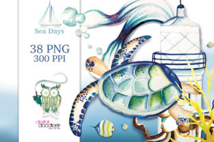 Print on Demand: Sea Days Watercolor Graphics Graphic Illustrations By Digital Doodlers
