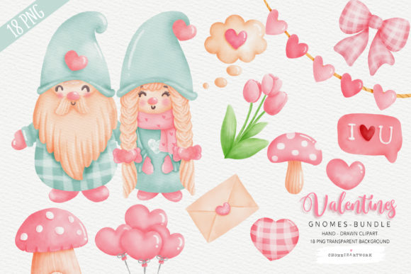 Valentine's Day Gnomes Couple Graphic Crafts By Chonnieartwork