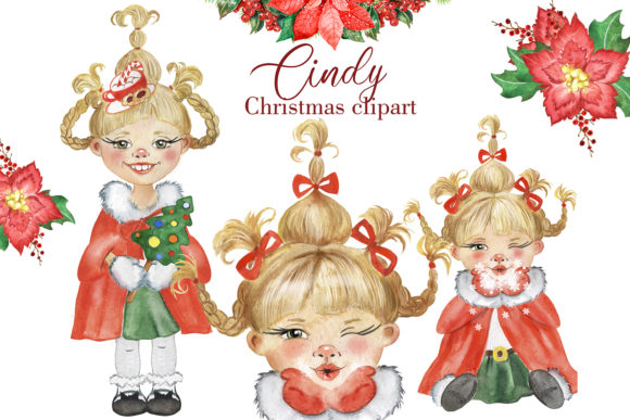 Christmas Clipart with a Little Girl. Graphic Illustrations By EvArtPrint