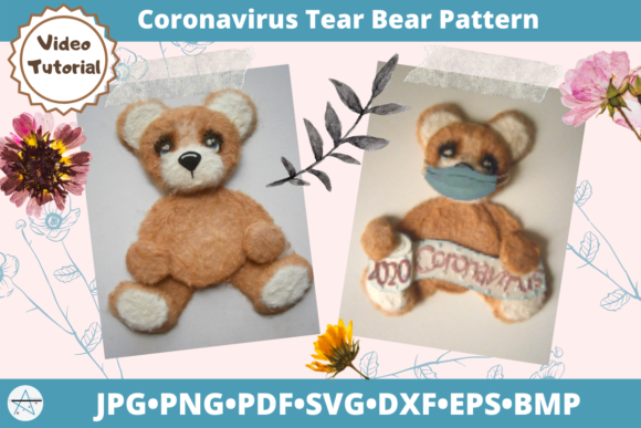 Coronavirus Tear Bear Pattern Cut File Graphic 3D SVG By alicazam