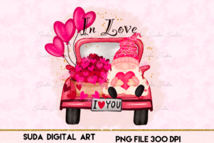 Print on Demand: Cute Gnome Truck Valentine's Sublimation Graphic Illustrations By Suda Digital Art