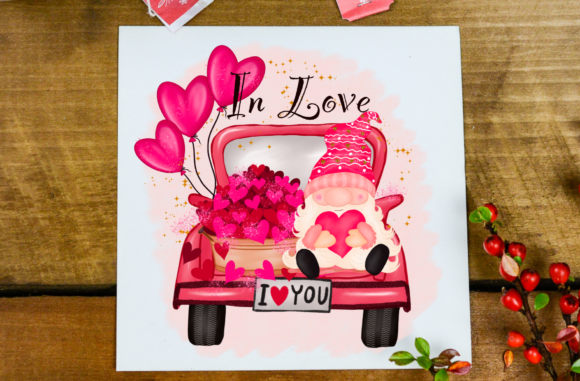 Cute Gnome Truck Valentine's Sublimation Graphic Item