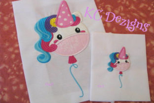 Cute Unicorn Balloon Applique Fairy Tales Embroidery Design By karen50