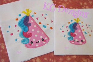 Cute Unicorn Birthday Hat Applique Fairy Tales Embroidery Design By karen50