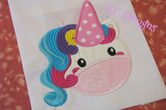 Cute Unicorn Face Mask Applique Fairy Tales Embroidery Design By karen50