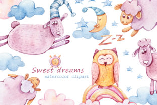 Print on Demand: Cute Sheep Clipart. Watercolor Nursery Graphic Illustrations By Tiana Geo