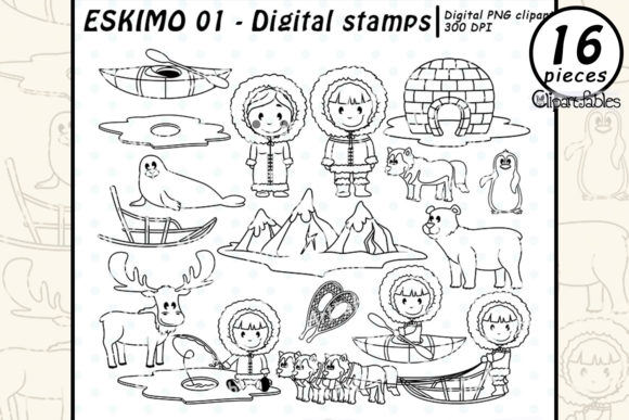 ESKIMO Digital Stamps, Arctic Animals Graphic Coloring Pages & Books By clipartfables