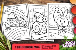 Funny Chameleon, Snail, and Rabbit Graphic Coloring Pages & Books Kids By JocularityArt