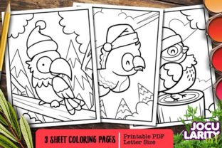 Funny and Cute Parrot in Christmas Graphic Coloring Pages & Books Kids By JocularityArt