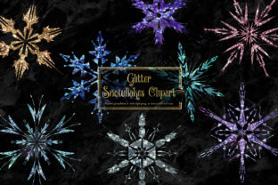 Print on Demand: Glitter Snowflakes Clipart Graphic Crafts By Digital Curio