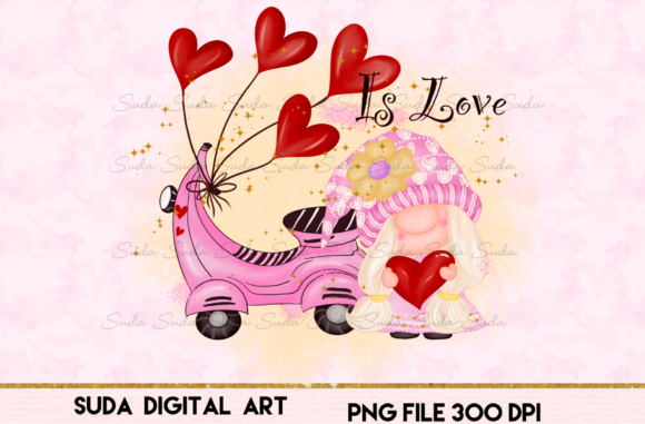 Print on Demand: Is Love Valentine's Day Sublimation Graphic Illustrations By Suda Digital Art
