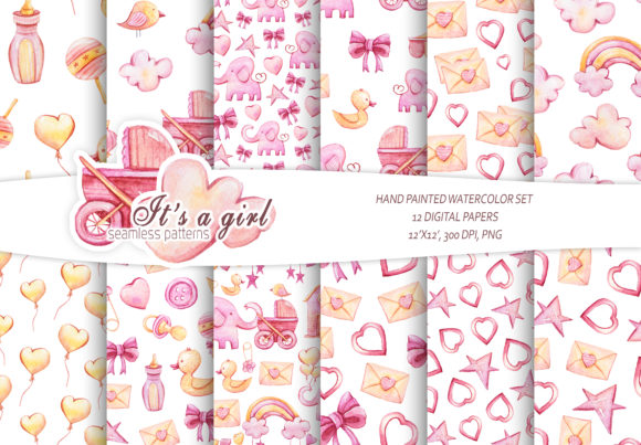 Print on Demand: It's a Girl Seamless Patterns. Baby Girl Graphic Patterns By Tiana Geo