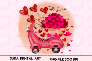 Print on Demand: Love Hearts Valentine Day  Sublimation Graphic Illustrations By Suda Digital Art